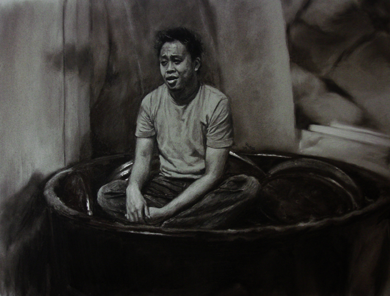 Khoa Sitting On Pennies - miniature realistic original charcoal art drawing by Ricky Colson