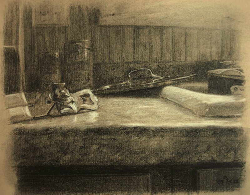 Can Opener - realistic original charcoal art drawing by Ricky Colson