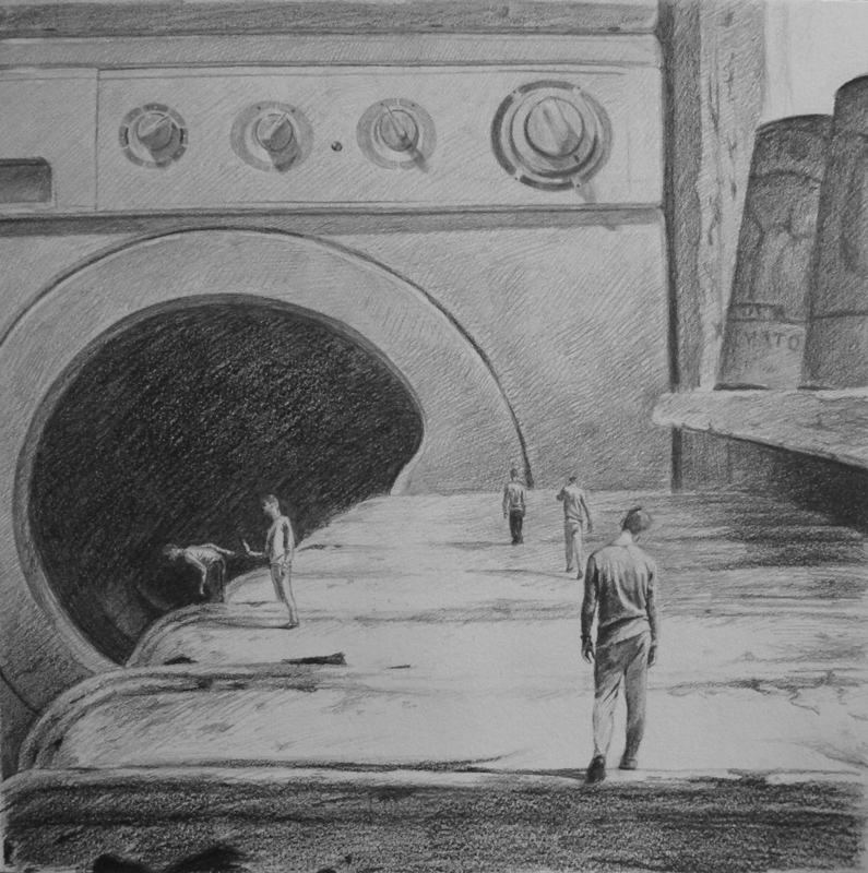 Laundry Door - miniature realistic original graphite art drawing by Ricky Colson