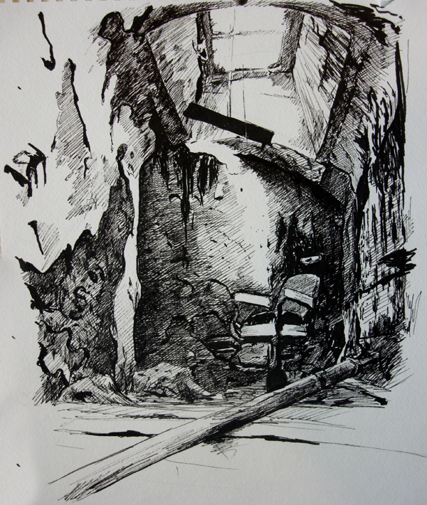 Barber Chair - Eastern State Penitentiary - original pen and ink art drawing by Ricky Colson.