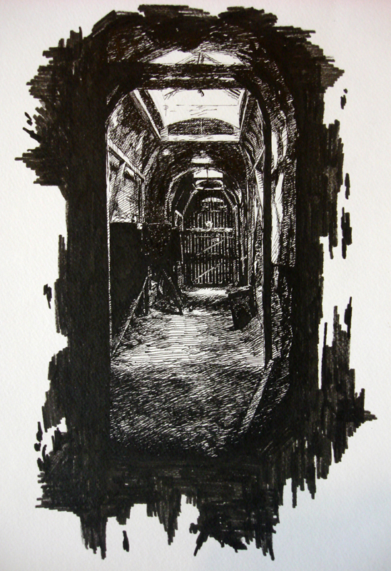 Prison Hall - Eastern State Penitentiary - original pen and ink art drawing by Ricky Colson.