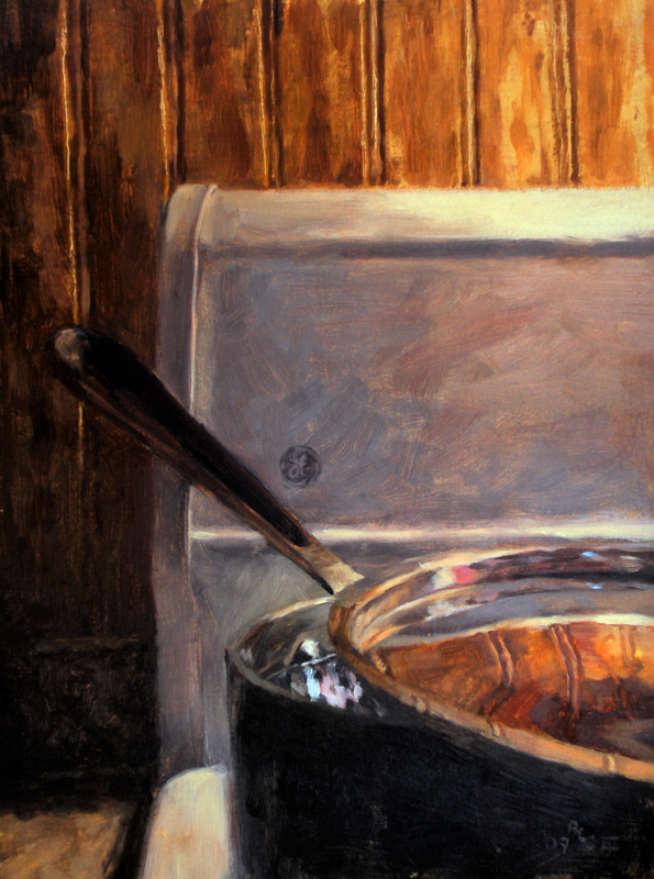 Stove Pot - realistic original oil art painting by Ricky Colson.