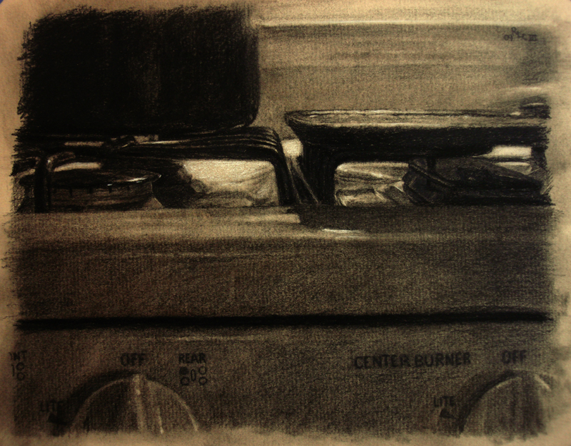 Stove Top - realistic original charcoal art drawing by Ricky Colson.