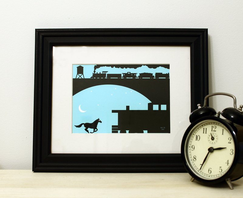 Blue horse train framed art print for sale by Ricky Colson