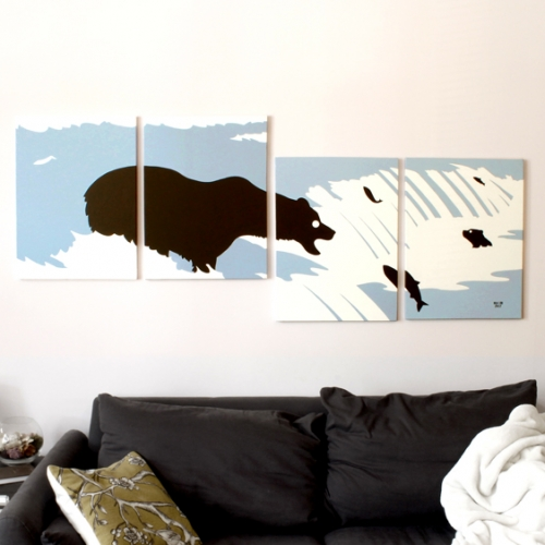 blue bear silhouette painting for sale by Ricky Colson