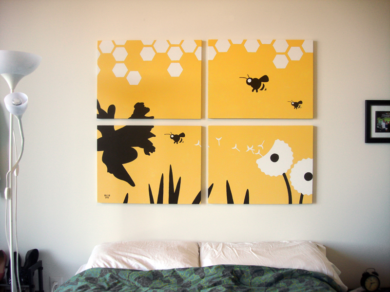 Yellow bee and flower painting for sale by Ricky Colson