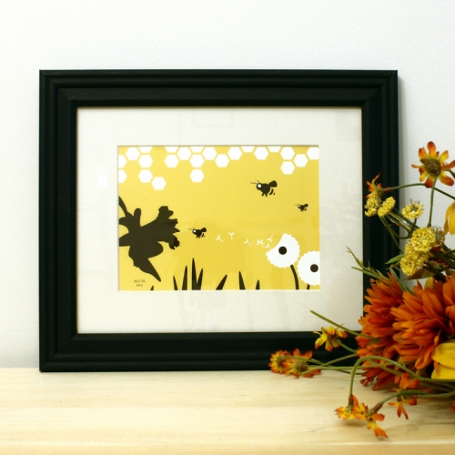 Bee and yellow honeycomb framed art print for sale by Ricky Colson