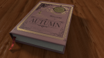 Welcome to Autumn illustrated history book gold inlay 3d model render by Ricky Colson