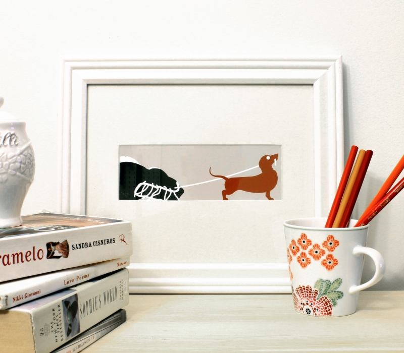 Dachshund wiener dog modern framed art print for sale by Ricky Colson