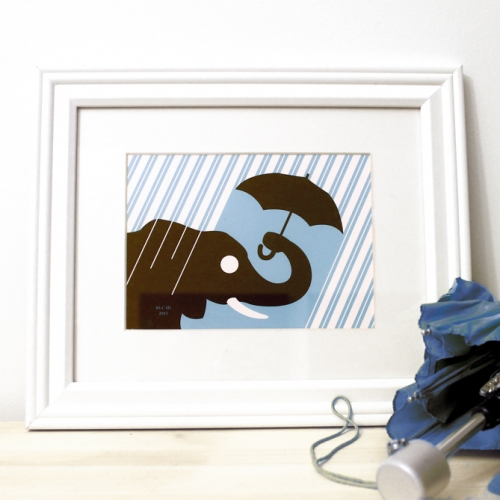 Elephant rain framed blue art print for sale by Ricky Colson