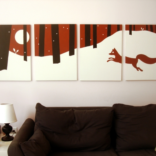 Red fox modern snow painting for sale by Ricky Colson