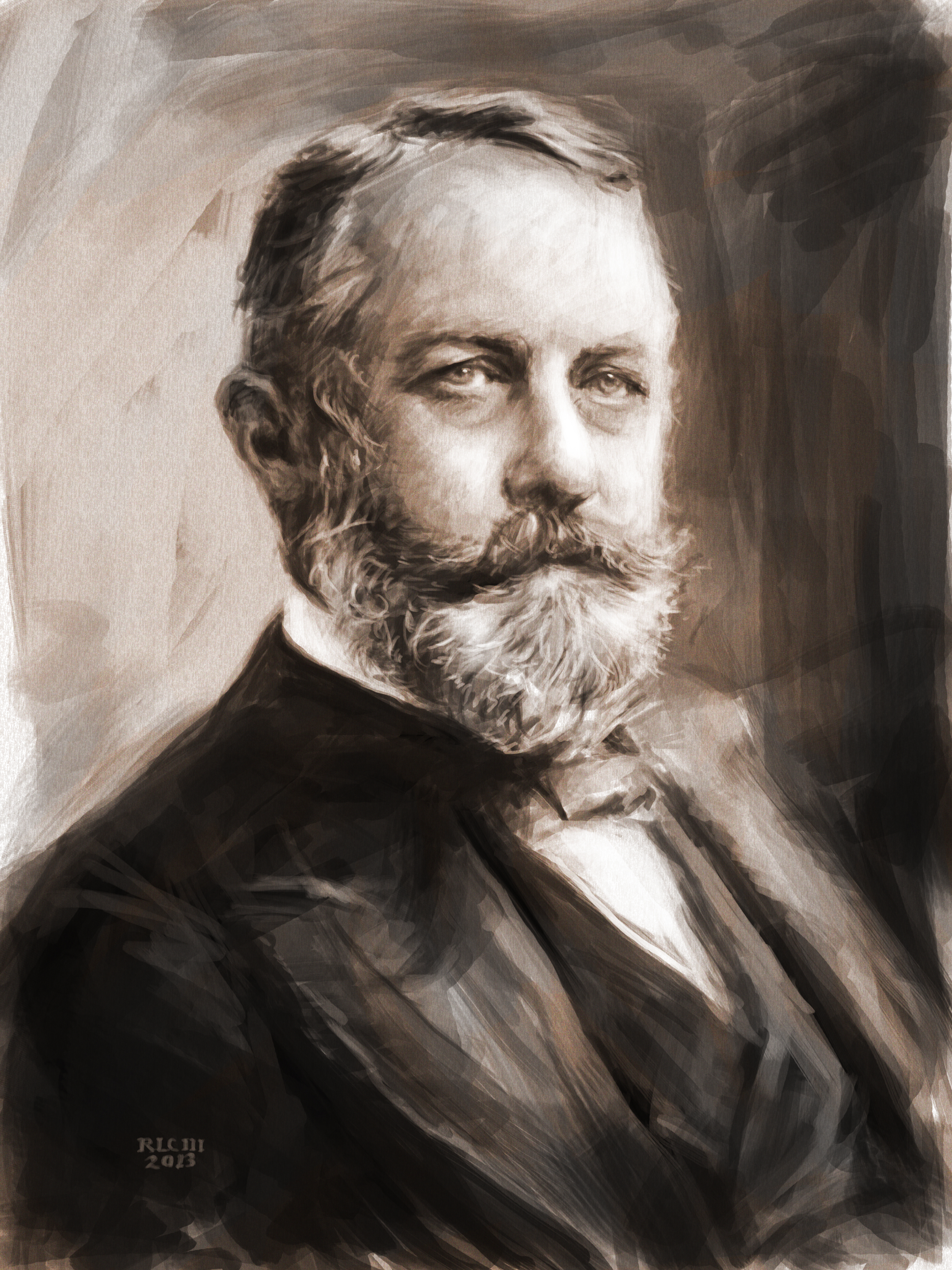 Henry Clay Frick 19th century tycoon digital portrait by Ricky Colson