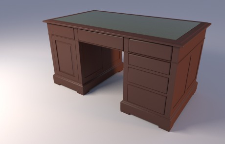 American-wood-double-pedestal-flat-top-desk-green-leather-top-3d-model-block-in-stage