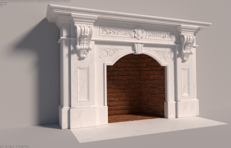 white-marble-mantle-red-brick