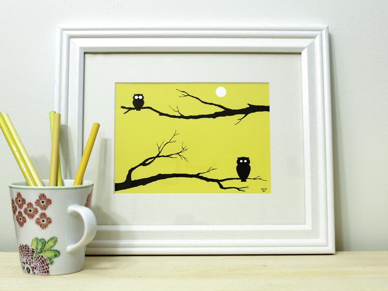 yellow owl print