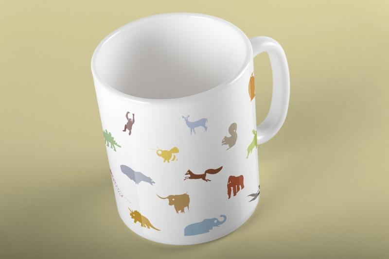 color animal mug