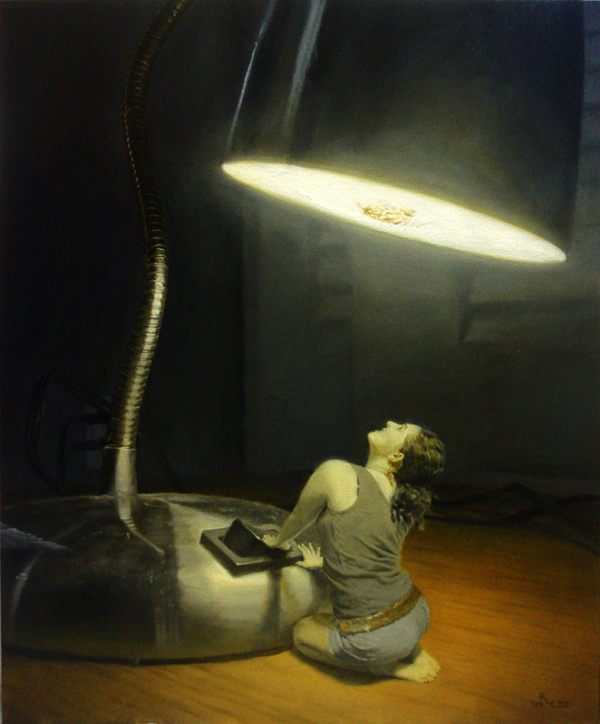 Incandescent - miniature realistic original oil art painting by Ricky Colson.