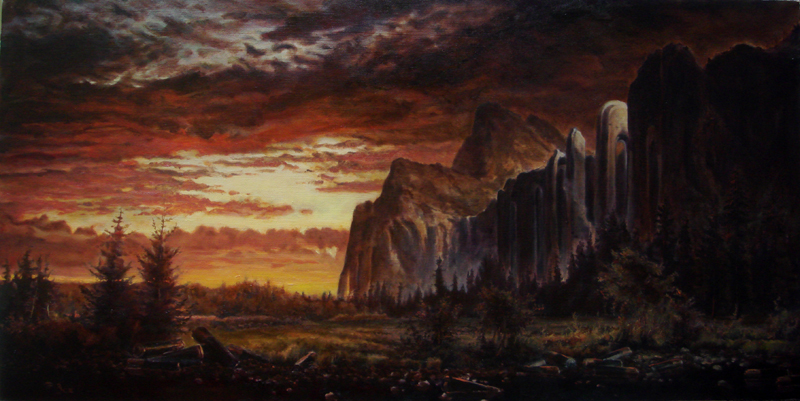 Radiator Mountain - realistic original oil landscape art painting by Ricky Colson.
