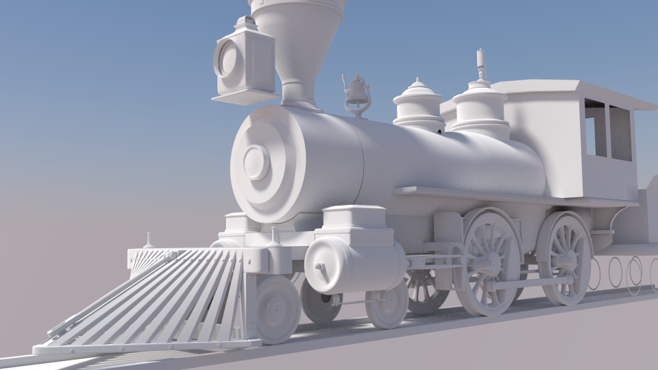 white steam train engine locomotive Blender 3d model by Ricky Colson