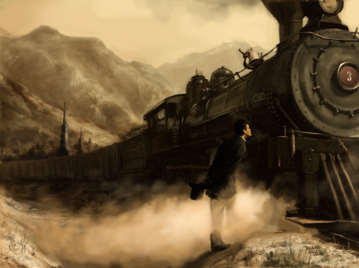 Black steam train locomotive mountain sepia digital painting by Ricky Colson